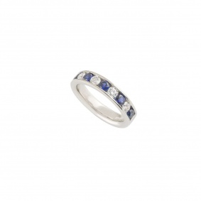 Platinum Diamond and Sapphire Half Eternity Ring